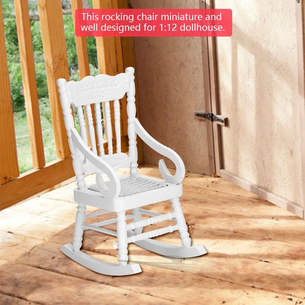 Hot Sale 1 12 Dollhouse Miniature Furniture White Wooden Rocking