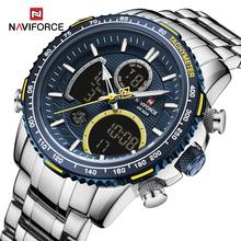 Luksusowa marka NAVIFORCE męski zegarek duża tarcza ze stali nierdzewnej sport chronograf kwarcowy zegarek człowiek zegar Relogio Masculino tanie tanio 24inch Podwójny Wyświetlacz QUARTZ 3Bar Składane zapięcie z bezpieczeństwem STAINLESS STEEL 17mm Hardlex Kwarcowe Zegarki Na Rękę