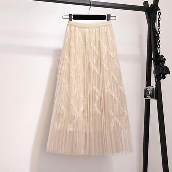 Zoki Fashion Mesh Women Long Skirt Elegant Spring Summer A Line Pearl High Waist Korean Female Party Tulle Midi Pleated Skirt 8