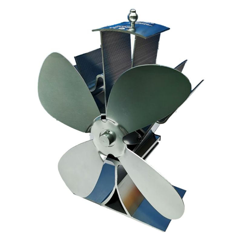 Eco-friendly Aluminum Silent Stove Fan Heat Powered Electrical Fan With 4 Blades Y5GA
