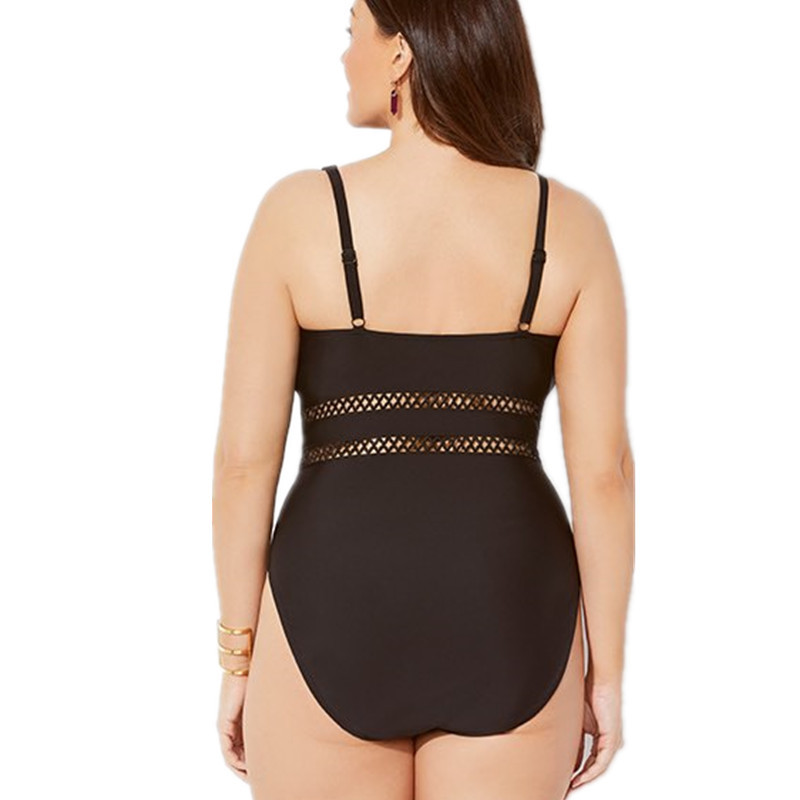 Mesh Insert High Waist Plus Size Swimsuits V Neck Swimwear Push Up One Piece Swim Suit for Women Ladies Bathing Suits Black 4xl 1