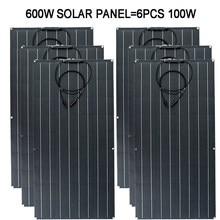100W 200W 300W 400W 500W 600W Flexible Solar Panel 32PCS 3.3W Monocrystal Solar Cell 22% Charging Efficiency Photovoltaic Panel