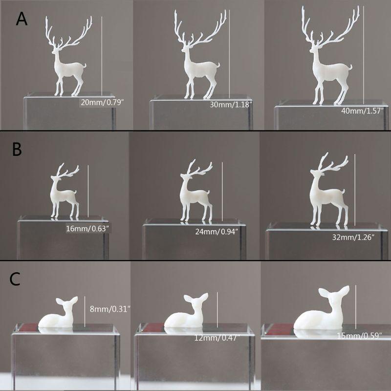 3Pcs Silicone Mini Elk Deer Modeling Resin Mold Landspace Fillings Resin Jewelry Fillings Resin Casting Filler Art Craft