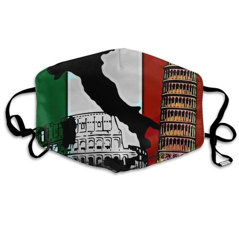 Facial para Correr Niyoung Unisex Respirável Pisa Torre Bandeira Italiana Máscara Boca Ajustável Earloop Anti Poeira Poluição