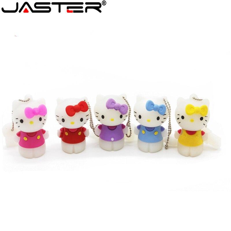 JASTER Cute Hello Kitty USB Flash Drive 8GB 16GB 32GB 64GB 4GB Pendrive USB 2.0 U Disk
