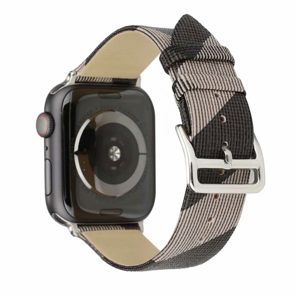 Pulseira de couro padrão xadrez para apple watch band 4 5 44/40mm feminino/masculino relógios pulseiras para iwatch series 3 2 1 42/38mm