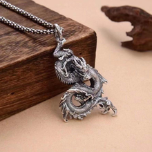Solid Silver Retro Bending Dragon Pendant Man Male S925 Sterling Siver Personality Big Lucky Dragon Pendant Jewelry Gift