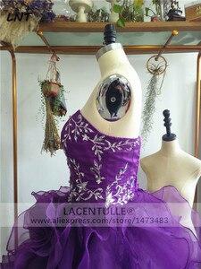 Image 5 - Bez rękawów potargane fioletowe sukienki z organzy Quinceanera musujące suknie na Quinceanera