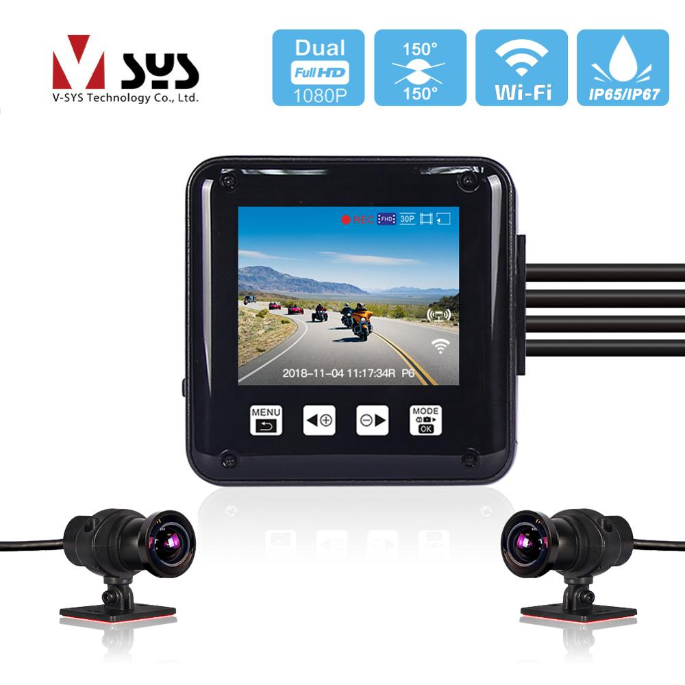 SYS VSYS P6 P6F WiFi Motorcycle Camera Moto DVR Dual Full HD 1080P 2.0'' LCD Full Body Waterproof Motorbike Dashcam For Bloggers