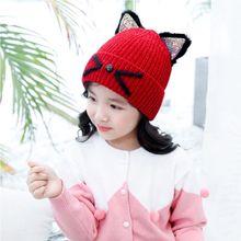 Дети Милые Блестки уши вязаная шапка зима вышитые Мяу Кошка шапка с манжетой Кепка