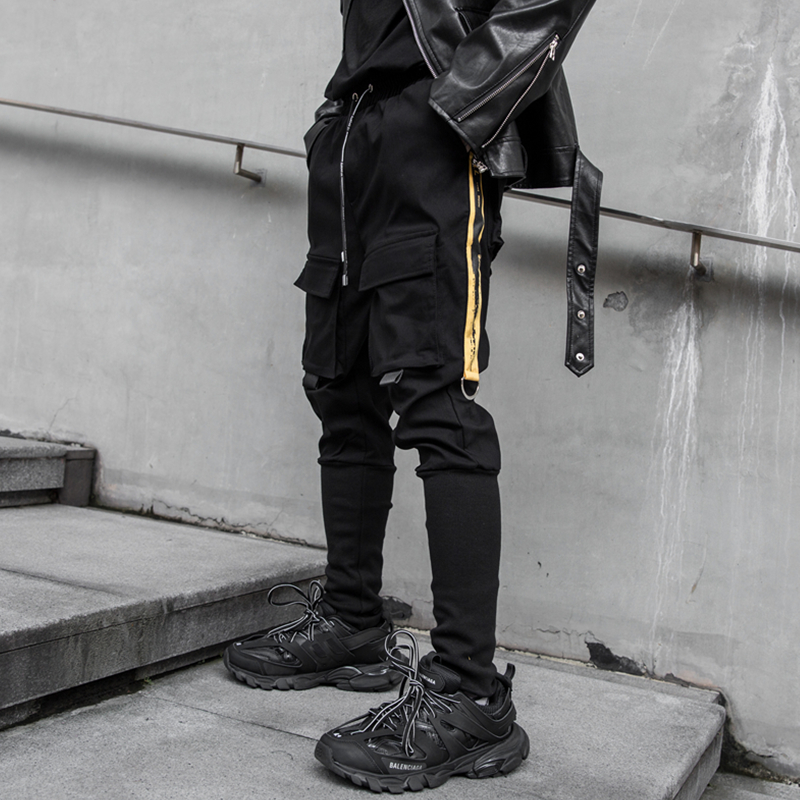 Darkly Style Black Men's Cargo Pants Cotton Side Pockets Men Sweatpants Joggers Trousers Hip Hop Streetwear Pencil Pants 2020