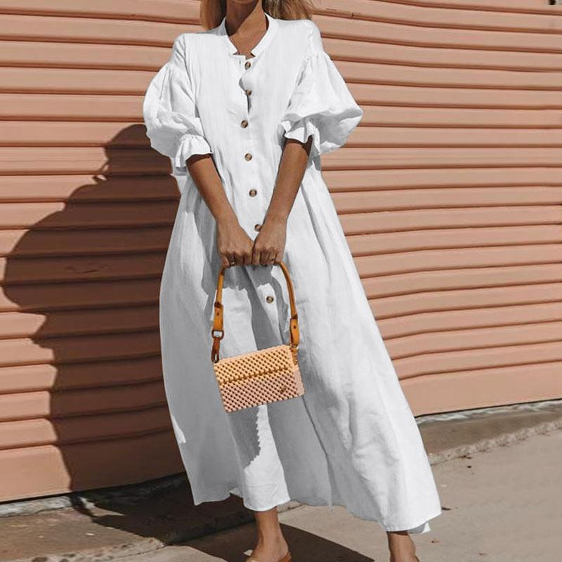 Women Summer Cotton White Loose Maxi Dress 2020 Vintage Half Lantern Sleeve Button Oversized Solid Big Hem Long Dress