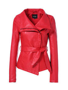 AORRYVLA Women Jacket Faux-Leather Short Turn-Down-Collar Slim-Style New Length Fashion