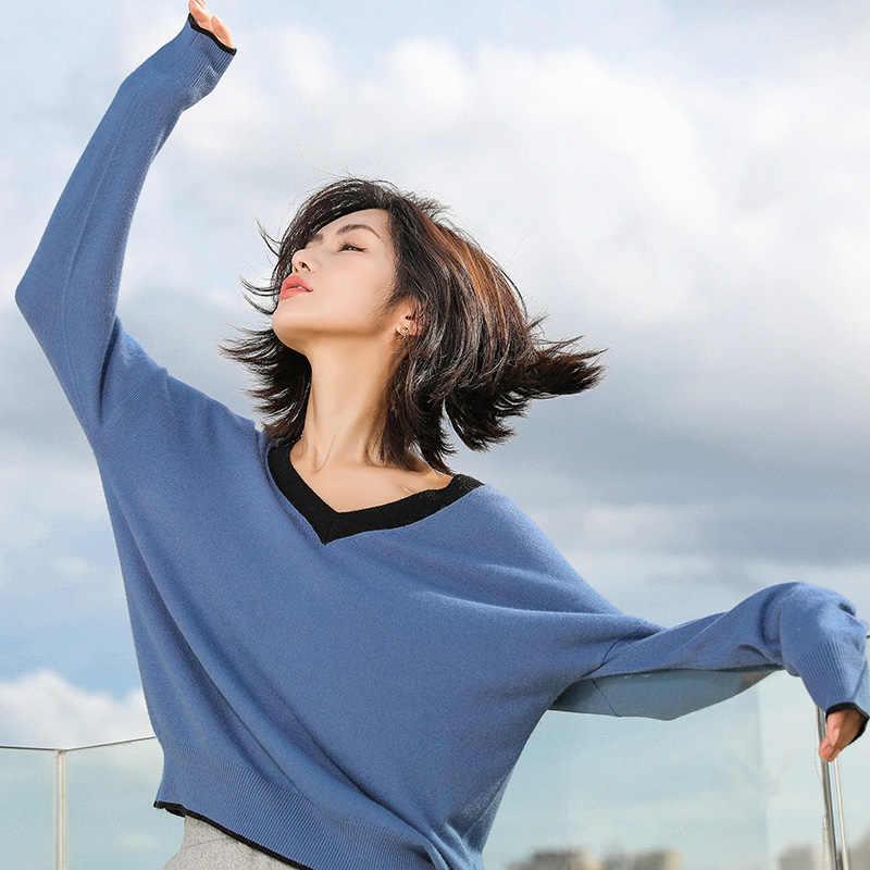 2019 Thu Đông Cao Cấp Cashmere Áo Len Nữ Áo Thun Dệt Kim Cổ Chữ V Áo Len Khoác Áo Nữ Thời Trang Áo Len