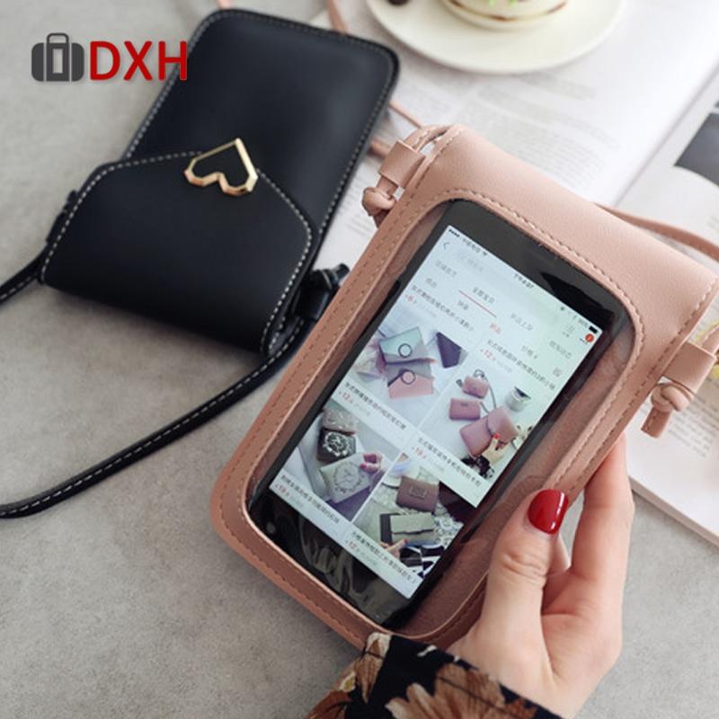 DXH Women Bag For Phone 2019 Coin Purse Cross Shoulder For Girls Cute Mini Heart type Hasp Mobile Pouch Handbags Transparent
