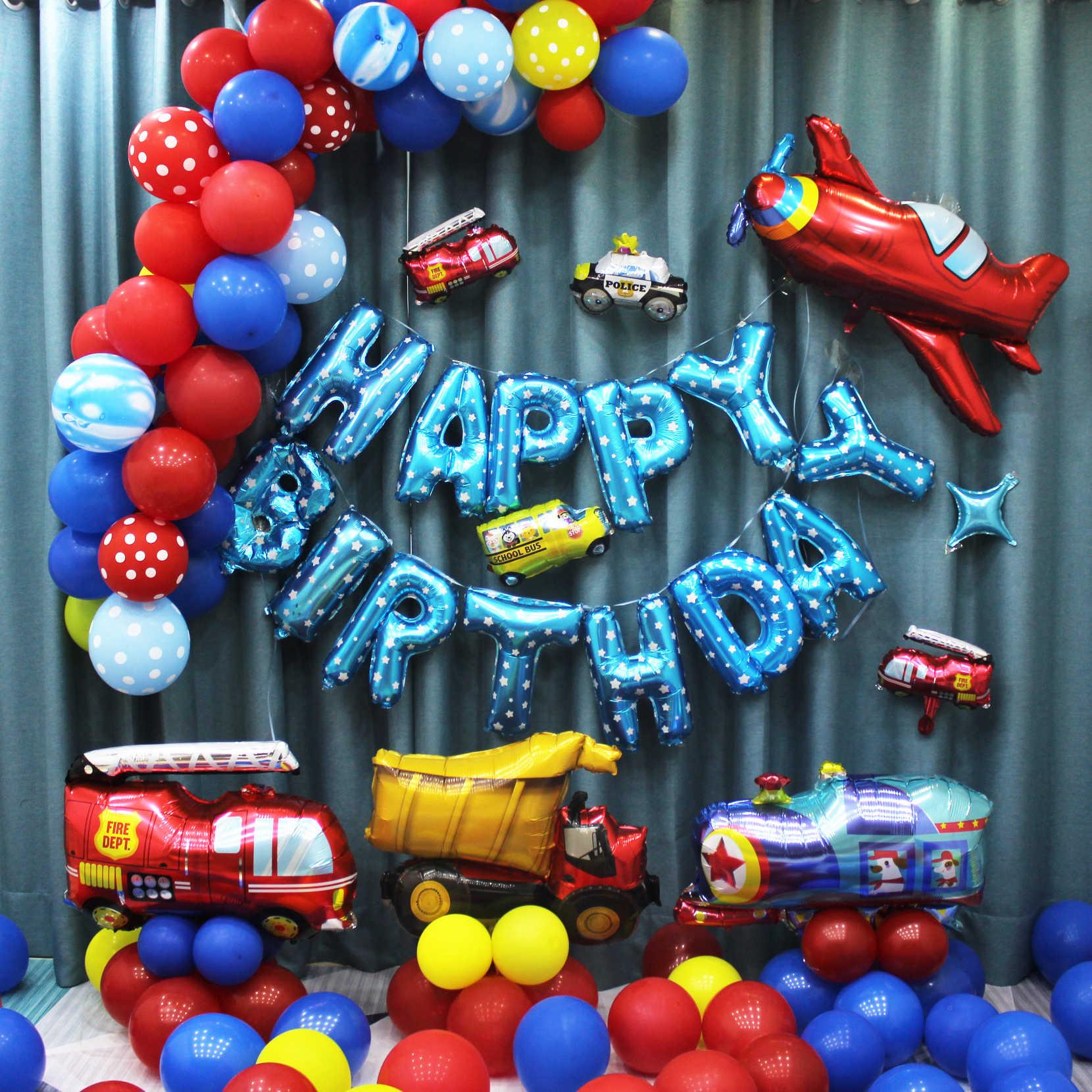 Hoạt hình Bóng Xe Cứu Hỏa Xe Ô Tô Tàu Lá Bóng Xe Cứu Thương Globos Tặng Bé Trai Vui Trang Trí Tiệc sinh nhật Trẻ Em bi