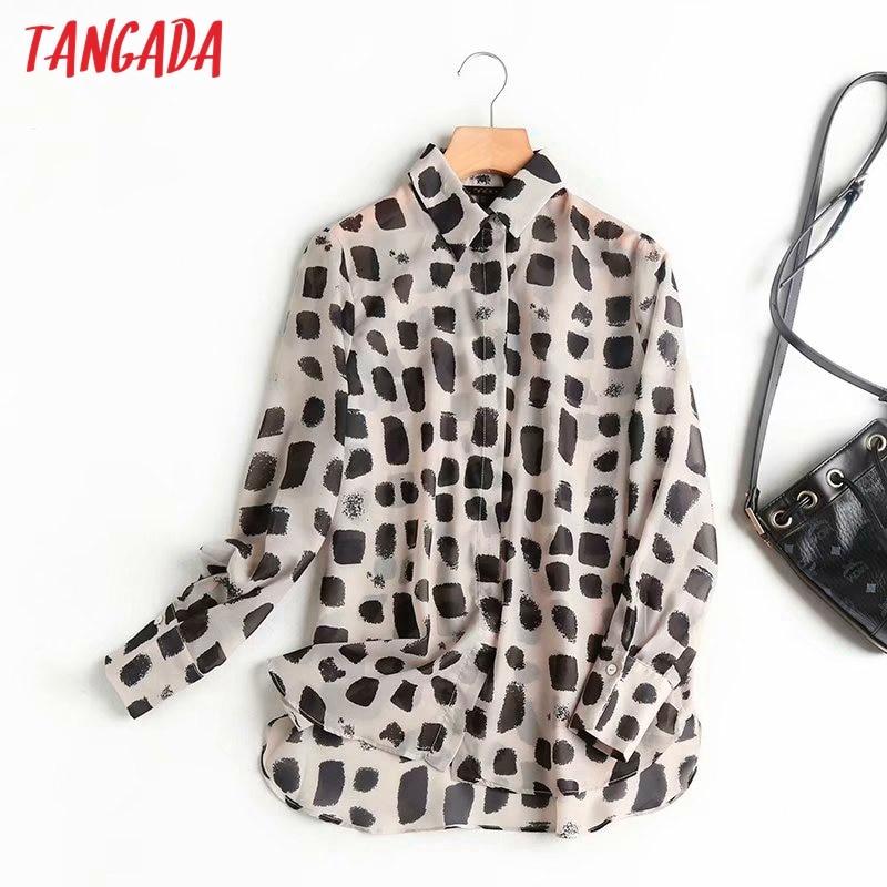 Tangada-Blusa holgada informal de Chifón con manga larga para otoño, camisa holgada con estampado retro para mujer, 4C2, 2020
