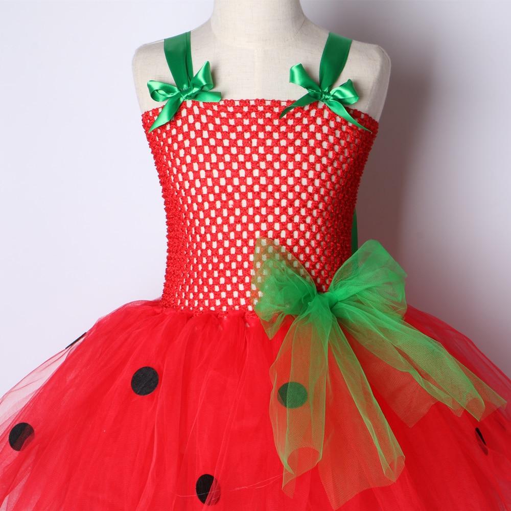 Girls Patry Dance Princess Costume Red Tutu Dress Girls 0-12Y Strawberry Design Baby Tutu Dress Birthday Clothing Children  5