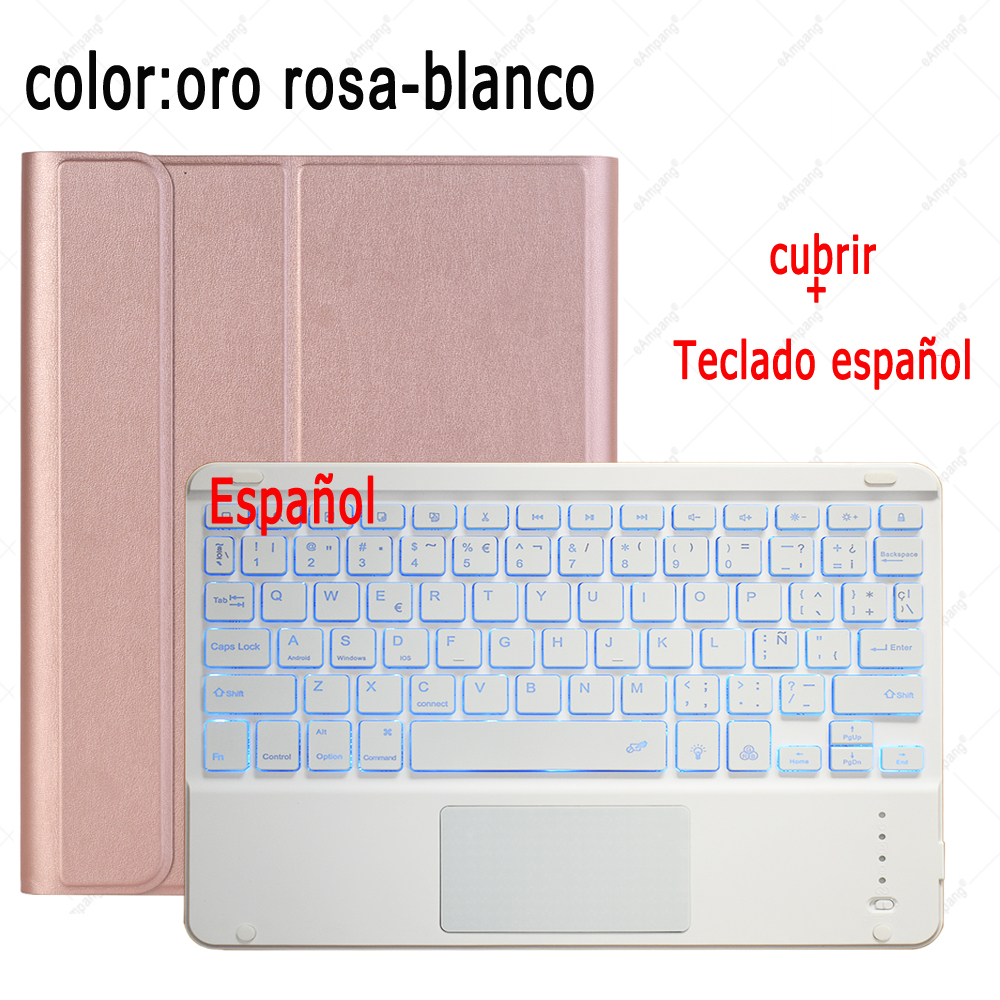 Spanish Keyboard Color Changing For iPad 7th 8th Generation 10 2 2019 A2200 A2198 A2232 Case with Backlit Touchpad Keyboard