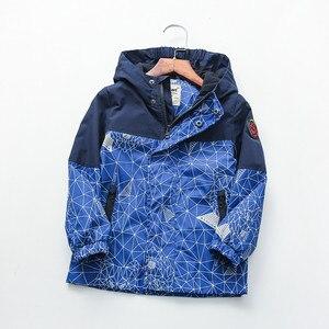 Image 1 - Детская хлопковая куртка с геометрическим принтом, 90 160 см