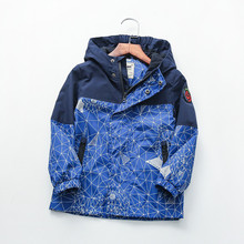 Waterproof Spring Autumn Casual Cotton Child Coat Geometric Print Baby Boys Jackets Children Outerwear Kids Outfits For 90 160cm