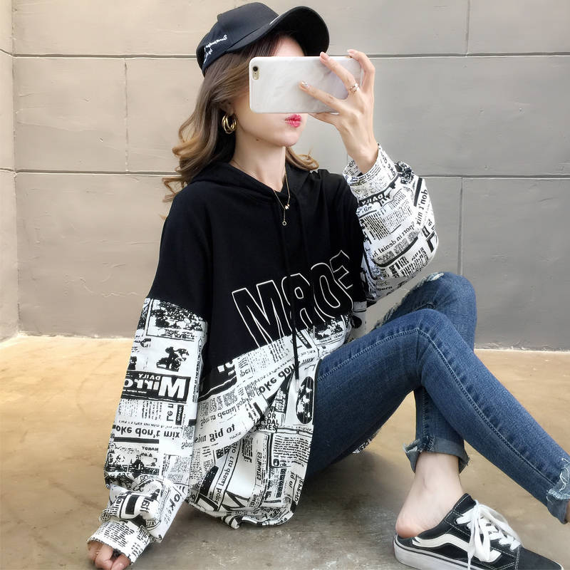 2019 Fashion Sweatshirt Hoodie For Women Clothing Korean Ulzzang Harajuku Streetwear Long Sleeve Hooded Sweatshirts Female Tops
