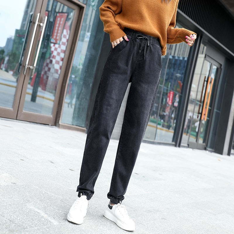 Harem Pants For Women Cotton Blend Denim Jeans Loose Bloomers Capris Female New Fashion Fall Spring Black Trousers Dmy0905