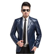 new high quality Brand Genuine Leather Jacket Men Slim Fit Style Luxury Lapel Collar Male Leather Suits For Men Sheepskin Jacket(China)