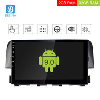 Besina 10.1 inch Android 9.0 Car Radio For Honda Civic 2016 2017 Multimedia Player GPS Navigation 2G+32G Stereo WIFI RDS Video