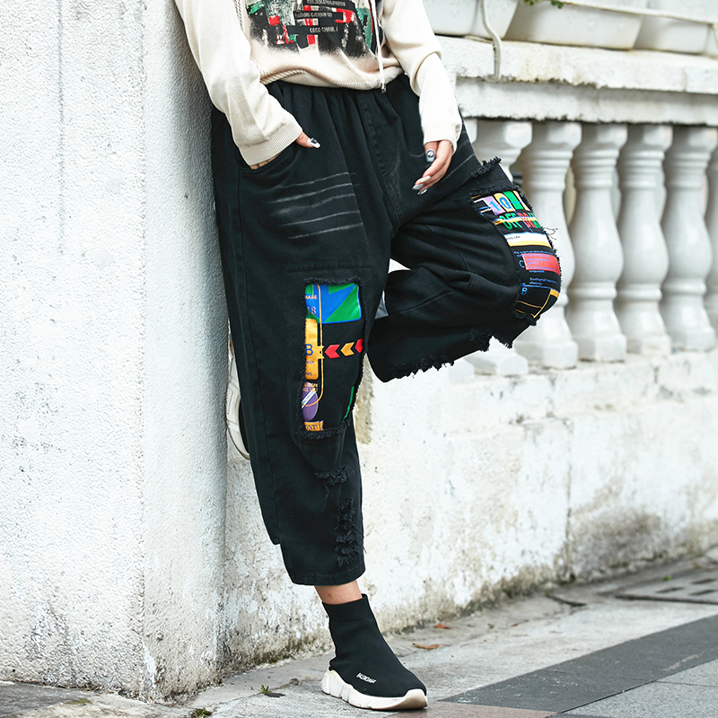 Max LuLu Summer Korean Fashion Style Ladies Punk Streetwear Womens Elastic Holes Ripped Jeans Casual Trousers White Harem Pants