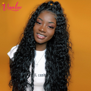 Vanlov 13x4 Brazilian Water Wave Lace Front Human Hair Wigs Pre Plucked Front Lace Wig With Baby Hair Natural Hairline Remyhair(China)