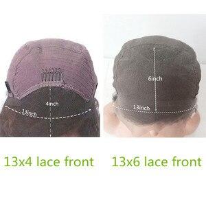 Image 2 - 13x6 브라질 짧은 밥 레이스 프론트 가발 pre plucked pixie cut 밥 사이드 파트 여성용 인간의 머리 가발 remy bouncy curly lace wig