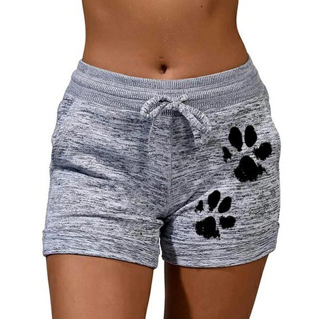 Woman shorts Women High Waist Cats Claw Print  1