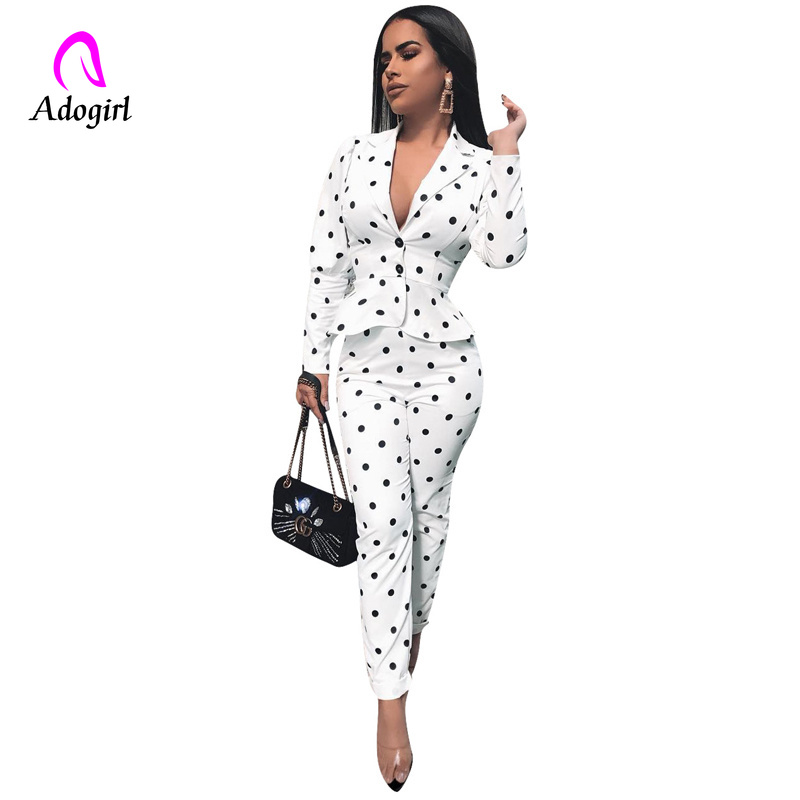 White Women Blazer Suit Polka Dot 2 Piece Set Office Lady Blazer Set Autumn Winter Elegant Slim Outfit Pencil Pants Matching Set