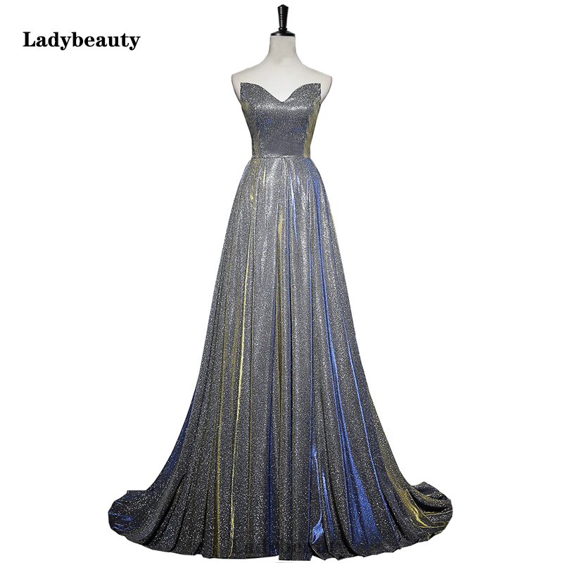 Ladybeauty New A line   Evening     Dress   Long 2019 Vestido De Festa Cheap Micro-tailing   dress   Sexy Open Back Glitter Red Prom   Dresses