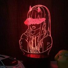 3d led ilusão noite luz darling no franxx zero dois 002 para o presente de natal e decoração do quarto anime lâmpada led iluminação