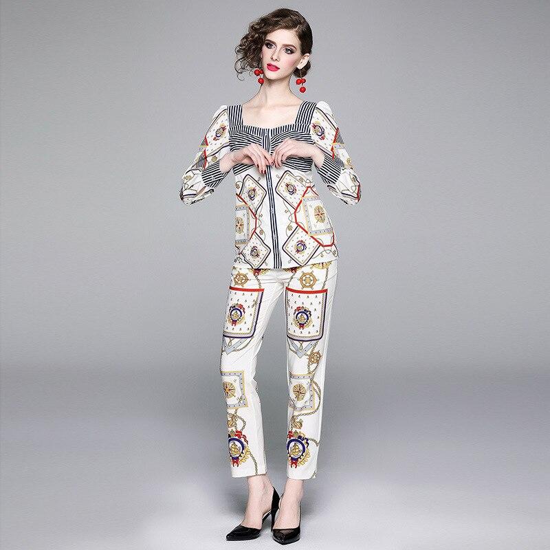 2019 New European And American Fashion Leisure Suit Retro Square Collar Long-sleeved Upper Garment + Capri Pants Printed Skinny