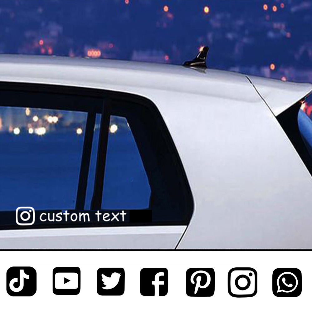 Car Sticker Custom Personalized Instagram Facebook Tiktok And Social Account User Name Sticker For Car Decals Accessories