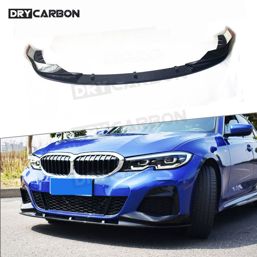 3 Series ABS Black Front Bumper Lip Splitters Spoiler For BMW G20 2019 2020 Carbon Look 3D Style Bumper Chin Protector