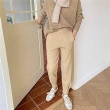 Hzirip ol vintage elástico de cintura alta harem calças de malha feminina nova outono inverno sólido casual calças quentes rabanete solto