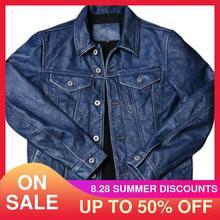 2021 Vintage Blau Casual Style Echtes Leder Jacke Männer Einreiher Große Größe 4XL Reale Natürliche Rindsleder Frühling Kurzen Mantel