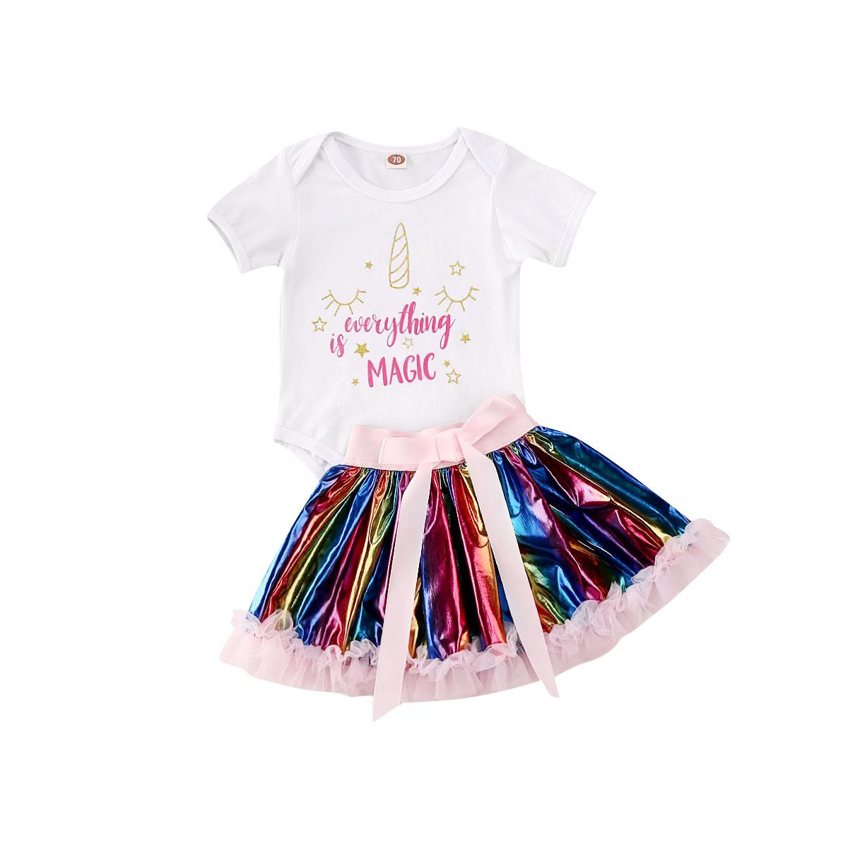 2PCS Summer Newborn Baby Girls Clothes Sets Princess Cartoon Print Bodysuit Jumpsuit+Colorful Tutu Skirt Girls Cotton Outfit