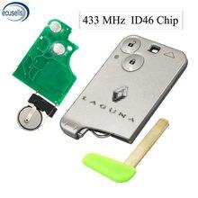 Chave controle remoto para cartão inteligente, chave 2 botões para renault laguna space vel satis 2001-2007 433mhz id46 chip pcf7947