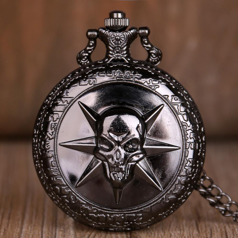 Rock Fashion Pocket Watch Skull Stars Skeleton Carving Pendant Chain Hot Cool Gifts For Men Women