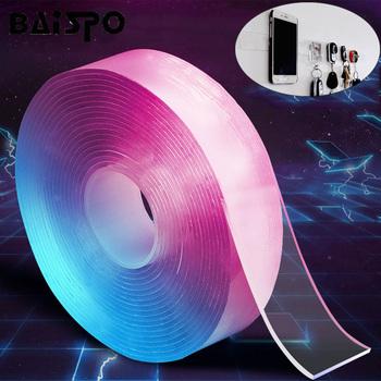BAISPO wielokrotnego użytku podwójne boki pokryte klejem taśma Nano bezśladowe zmywalne taśmy gadżet domowy wielofunkcyjne akcesoria łazienkowe tanie i dobre opinie Żywica Bathroom Accessories Sets Ekologiczne Zaopatrzony Dwuczęściowe Double side tape Nano PU Gel 1 roll x double side tape