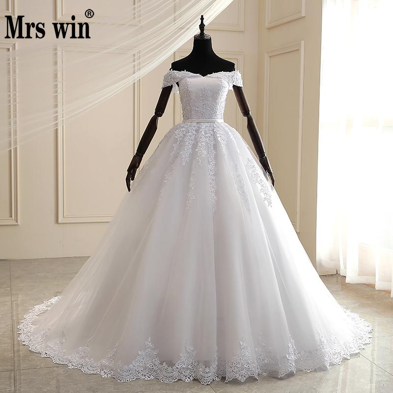 Mrs Win Wedding Dress 2020 The Elegant Boat Neck Ball Gown Off The Shoulder Princess Luxury Lace Embroidery Wedding Dresses