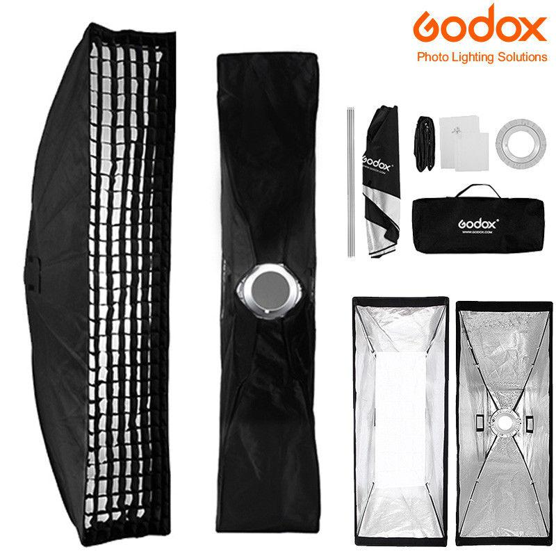 BEESCLOVER Godox 22x90cm Rectangle Bowens Mount Strip Softbox + Grid For Studio Strobe Flash Softbox Grid Ring Adaptor R60
