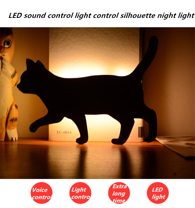 New LED Light Voice Light Control Night Light Silhouette Light Shadow Light LED Projection Lamp Cat Wall Lamp