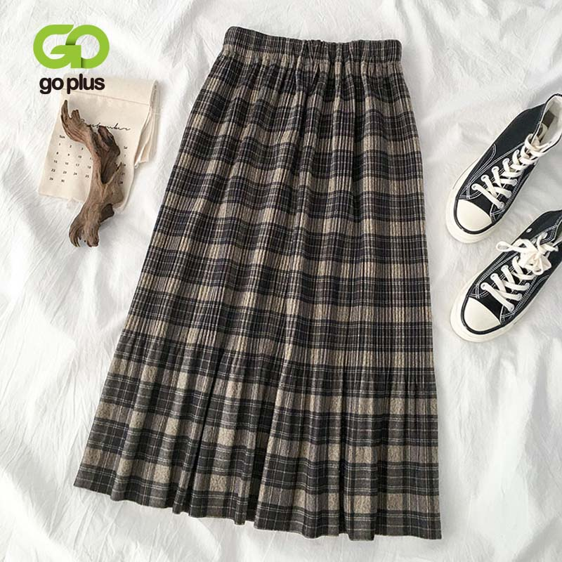 Autumn Women's Skirt Mid-calf Vintage Elastic High Waist Plaid A-line Loose Long Skirts Womens Cloth Ropa Mujer Jupe Femme