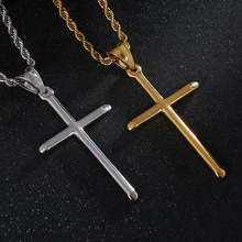 Hip Hop Men and Women Cross Pendant Necklaces European and American Fashion Hot-selling Stainless Steel Pendant Necklace New european and american hip hop encrusted masked statue of liberty pendant necklace stainless steel color preserving plati